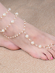 2Pcs Pearl  Beach Wedding Foot Jewelry  Bridal  Bridesmaid  Jewelry Beach Multilayer Barefoot Sandal Foot Anklet Chain