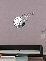New Creative Butterfly Figure Promotion Luxury Diy 3d Mirror Wall Clock Watch Modern Large Decor