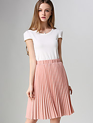 Women's Solid Blue / Pink / Red / White / Beige / Black / Gray / Orange Skirts,Casual / Day / Simple Knee-length
