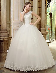 A-line Wedding Dress Floor-length Bateau Lace with Beading