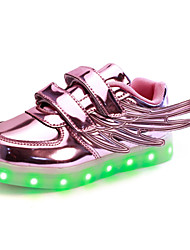 Unisex Kid Upgraded Patent Leather LED Light  Wings  Sport Shoes Flashing Sneakers USB Charge