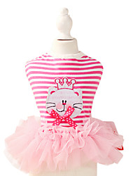 Dog Dress / Clothes/Clothing Pink Summer / Spring/Fall Stripe Fashion