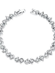 Sweet Women's  Rhinestones Platinum Plated Tin Alloy Chain & Link Bracelet(White)(1Pc)