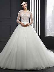 A-line Wedding Dress Cathedral Train Jewel Lace with Appliques