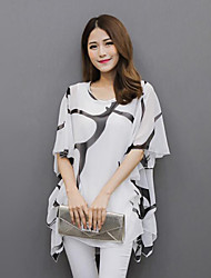 Women's Casual/Daily Plus Size Summer Blouse,Print Round Neck Short Sleeve White / Black Polyester Medium