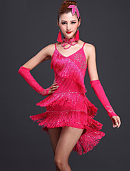 Latin Dance Dresses Women's Performance Milk Fiber Tassel(s) 2 Pieces Fuchsia / Red / Royal Blue