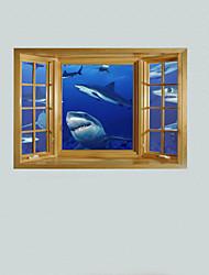 3d adesivos de parede decalques da parede, os tubarões de parede decoração adesivos de vinil