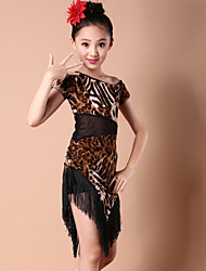Latin Dance Dresses Children's Performance Spandex / Milk Fiber Tassel(s) 1 Piece DressDress length S(110):57-76cm / M(120):60-81cm /