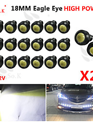 20x 18mm 9w LED blanche aigle sauvegarde DRL oeil diurne brouillard 12v auto voiture