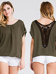 Women's Fashion Casual / Work / Beach / Holiday Short Sleeve Lace Carving Loose Chiffon T-shirt