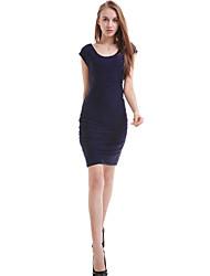 Women's Solid Blue Dress,Sexy/Bodycon Round Neck Sleeveless