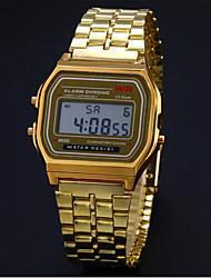 Мужской Нарядные часы Часы-браслет Наручные часы электронные часы Цифровой Нержавеющая сталь Группа Серебристый металл Золотистый