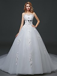 Ball Gown Wedding Dress - White Cathedral Train Sweetheart Tulle