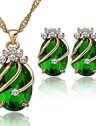 Crystal 18K Gold Plated Party Jewelry Sets For Women Necklace With Earrings