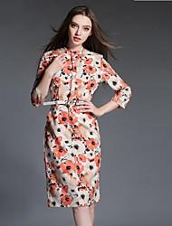 De las mujeres Recto Vestido Vintage / Simple Floral Hasta la Rodilla Escote Chino Algodón / Poliéster