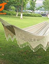SWIFT Outdoor® New Cotton Thickening Canvas outdoor Luxury Double Person Portable Tassel Hammock White Fringe Hammock