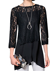 Spring Fashion Fake Piece Women's Lace Splice Chiffon Round Neck ¾ Sleeve Solid Color Slim Shirt