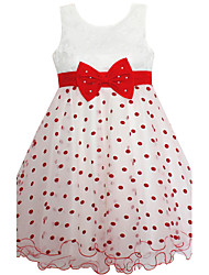 Girl's Dress Dot Bow Belt Multi-layers Party Pageant Birthday Casual Children Clothing Dresses