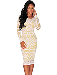 Women's  Plus Victorian Net Nude Illusion Long Sleeves Dress