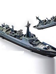 Puzzles Puzzles 3D Building Blocks DIY Toys Navire de Guerre Papier Vert / Gris Maquette & Jeu de Construction