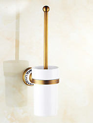 Ceramic and Copper Toilet Brush Holder , Traditional Antique Wall Mounted