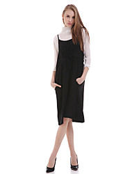 Women's Casual/Daily Simple Chiffon Dress,Solid Strap Knee-length Sleeveless Black Polyester Summer