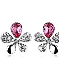 Austria Crystal Stud Earrings for Women Flower Earrings Fashion Jewelry Accessories Silver Plated