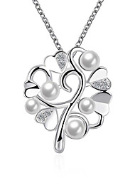 Simulated Pearl Jewlery Pendant Snake Chain Necklace Women's Silver Plated Trendy Zircon Necklace(Color:Silver)