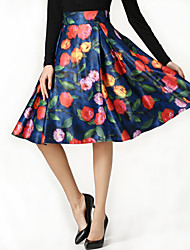 Women's Floral Blue / Red / Purple Tutu Skirts , Casual / Day / Holiday Pleated Fashion Elastic Waist Polyester