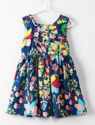 Girl's Multi-color Dress,Floral Linen / Polyester Summer
