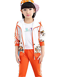 Girl's Blue / Orange / Red Clothing Set,Floral Cotton Spring / Fall