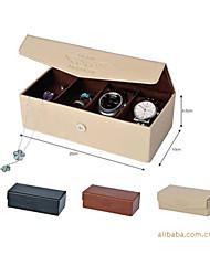 Хранение косметики Коробка с косметикой / Хранение косметики PU Однотонный Квадрат 20x10x6.5cm черный увядает / Бежевый