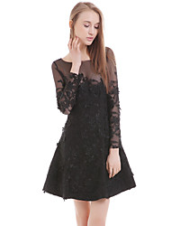 Women's Casual/Daily Little Black Dress,Solid Round Neck Above Knee Long Sleeve Black Polyester Summer