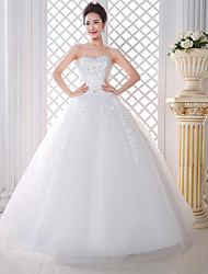 A-line Wedding Dress - White Floor-length Strapless Lace / Satin