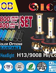 liancheng® 60w 6400lm 9 ~ 32v haute luminosité torchis conduit phare kit-h13 / 9008 pour la voiture, hors route, UTV, atv