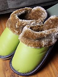 DamenLässig-Leder-Flacher Absatz-Rundeschuh / Pantoffeln-Mehrfarbig