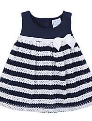 Girl's Black Dress,Stripes Cotton Summer