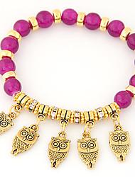 Women's New European Style Retro Fashion Metal Owl Pendant Beaded Bracelet