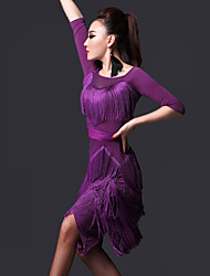 Latin Dance Dresses Women's Performance Chinlon Tassel(s) 2 Pieces Dress Shorts 85-100