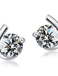 Boucles d'oreille goujon Zircon cubique Argent sterling Zircon Argent Bijoux Mariage Soirée Quotidien 2pcs
