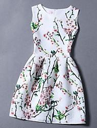 Mulheres Vestido Evasê Moda de Rua Jacquard Mini Decote Redondo Algodão / Poliéster