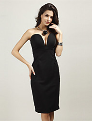 Women's Sexy Solid Bodycon Dress , Strapless Knee-length Cotton