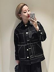 Women's Striped Blue / Black Denim Jackets , Street chic Shirt Collar Long Sleeve