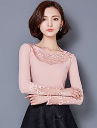 Spring Plus Size Women's Lace Embroidered Long Sleeve Splicing V Neck Slim T-Shirt Tops Blouse