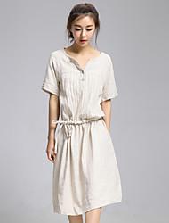 Women's Simple Solid Shift Dress,V Neck Knee-length Polyester