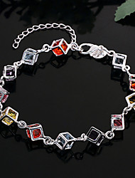 Lureme® Silver Plated Jewelry Square Box with Colorful Zircon Bracelet for Women