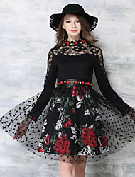 De las mujeres Vaina / Encaje Vestido Fiesta Floral Sobre la rodilla Escote Chino Licra