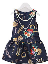 Girl's Floral Dress,Polyester Summer Multi-color