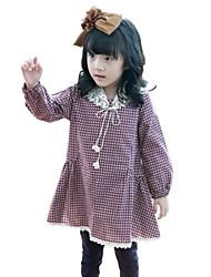 Girl's Black / Red Dress,Check Rayon Spring / Fall