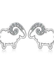 2016 Korean Women 925 Silver Sterling Silver Jewelry AAA Zircon Lovely Sheep Earrings Stud Earrings 1PairImitation Diamond Birthstone